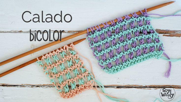 PUNTO CALADO FÁCIL en dos colores (dos agujas o palillos)