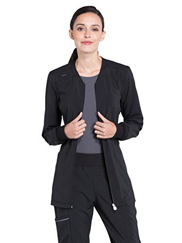 Cherokee Infinity Women's Zip Front Warm-Up Solid Scrub Jacket - Be modern in this Infinity by Cherokee Women's Zip Front Warm-Up Solid Scrub Jacket. A sleek silhouette is fitted with plenty of stretch so you can move with ease all day long. Junior fit Slim jewel rib knit neckline Long sleeves with ribbed cuffs Shoulder yoke seaming with badge loop at right Ce...