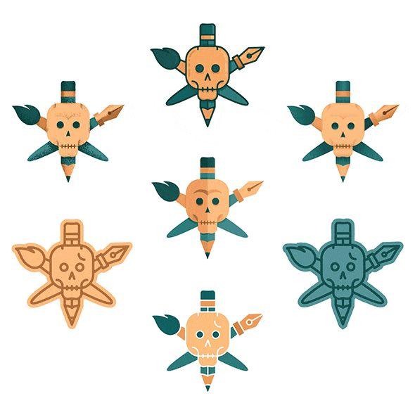 Argh, freeloaders, I got a free stuff for ya :D 7 vector-based skull designs up for grabs here → www.tovarkovdesign.com/freebie/