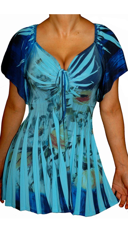 Funfash Plus Size Top Blue Floral Slimming Empire Waist Womens Plus Size Shirt