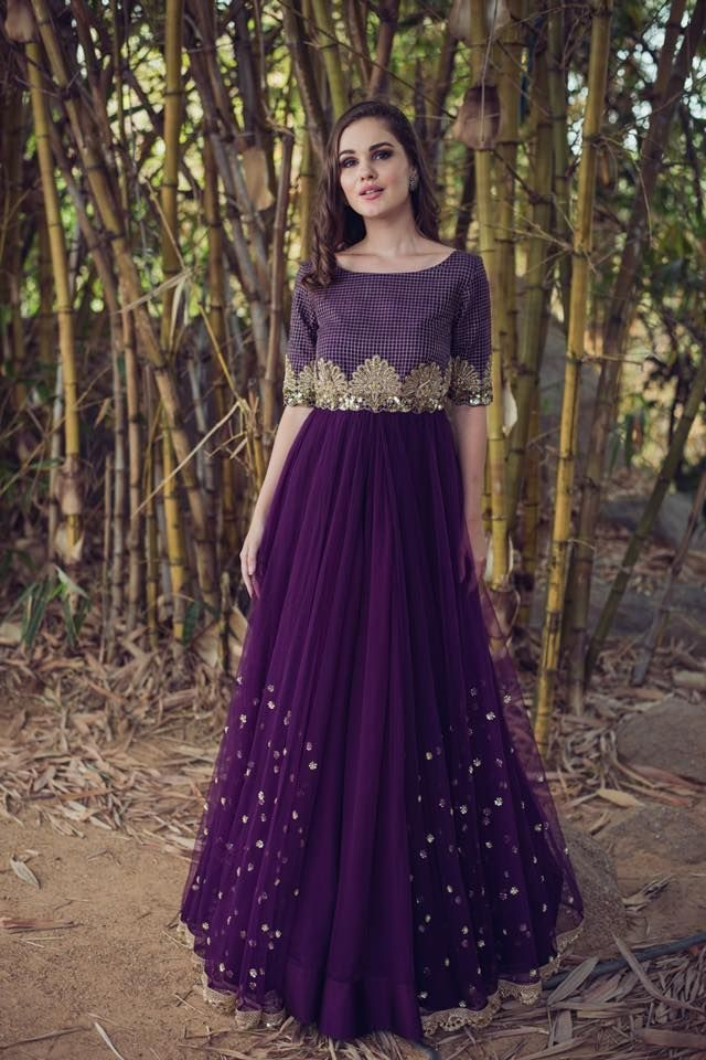 Beautiful purple color designer lehenga and blouse with hand embroidery thread work.Meenakshi collection of Mrunalini Rao . 25 April 2018