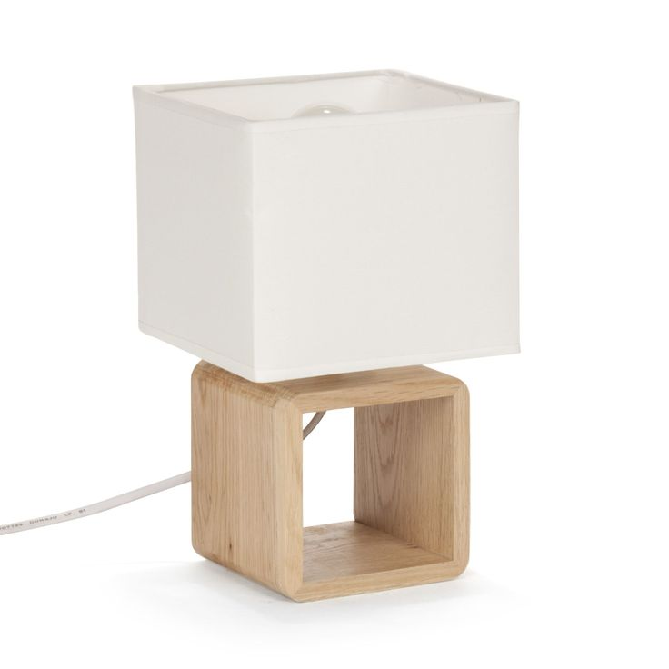 Cubo - Lampes à poser-Luminaires Lampe de chevet en bois BLANC H25cm