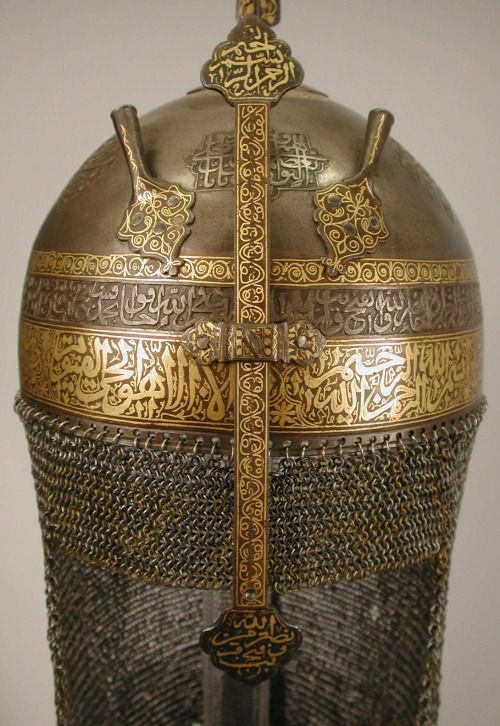 fishstickmonkey:  Helmet with Talismanic Inscriptions Object Name: Helmet Date: 18th century Geography: Iran Culture: Islamic Medium: Steel; damascened with gold Dimensions: H. 93/4 in. .(24.8cm) Diam. 71/2 in. (19.1cm) Classification: Arms and Armor Metropolitan Museum of Art