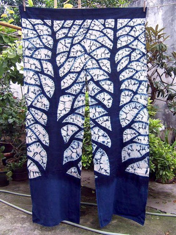 Indigo Tie dyed Curtains Window Blue Big tree by Thealese on Etsy