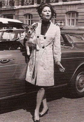 Ava Gardner--there are many gorgeous photos of her with her Corgis