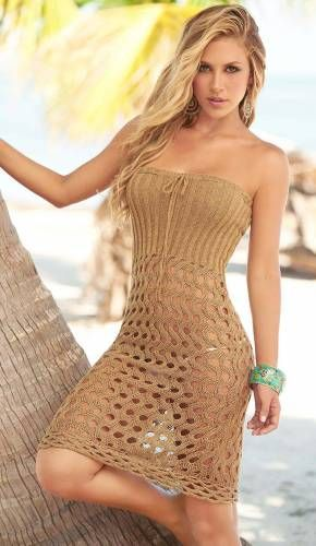 Tan Swimwear Cover Up Dress/Skirt