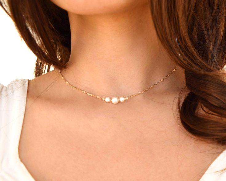 Dreifache Perlenkette – zarte goldgefüllte Halskette, zierliche einfache Halskette aus Sterlingsilber, Geburtstagsgeschenk für sie, Weihnachtsgeschenk für ihre Mutter   – Jewelry Necklaces