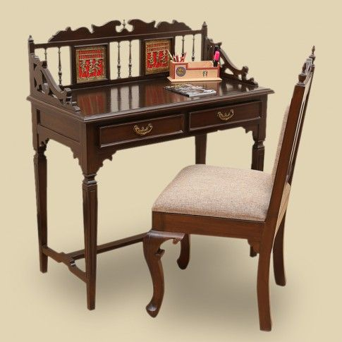 "Teak Wood ""Maharaja"" Writing Desk & Chair With Dhokra & Warli Work In Walnut Brown 