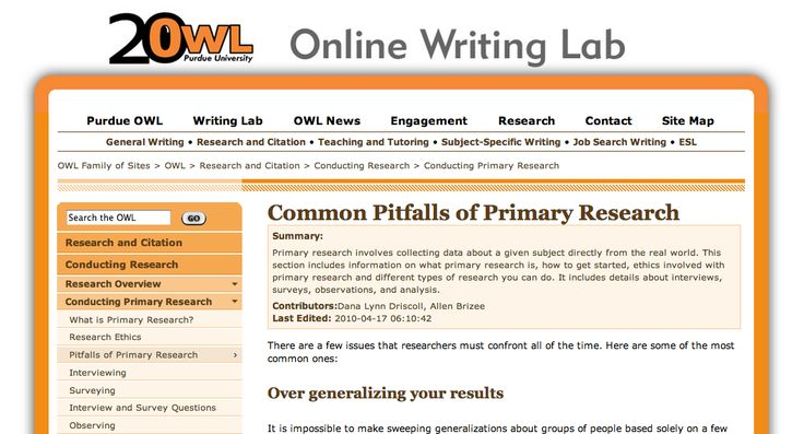 Purdue Owl: Common pitfalls of primary research #316 #research