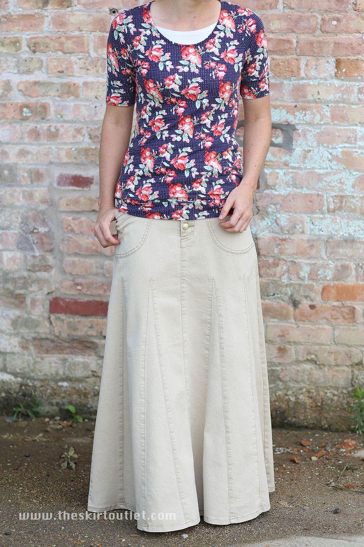 Khaki Charm Modest Long Skirt | Plus Size Long Jean Skirt 20-22