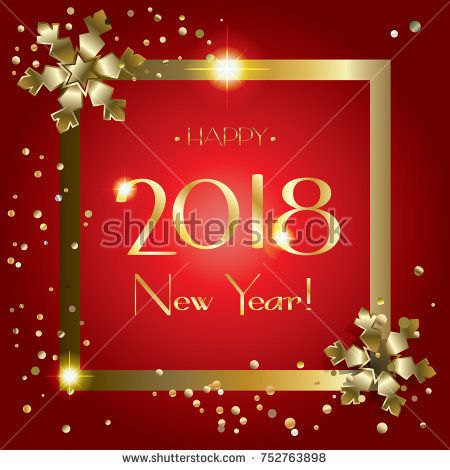 Christmas and Happy New Year greeting card with gold snowflakes confetti, lights effect, gold glitter frame, template vector. 2018 logo, red background.