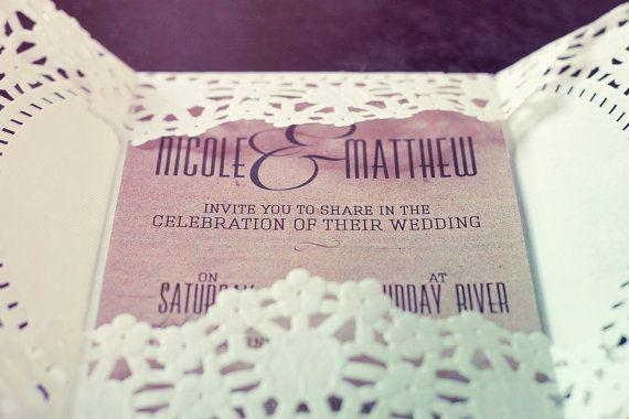 Vintage Kraft Wedding Invitation, doily invitation, kraft and lace, rustic wedding invitation