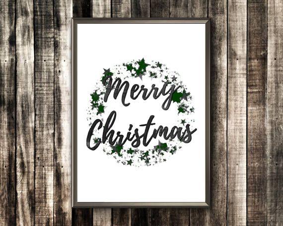 Merry Christmas Print  Merry Christmas Typography  Merry