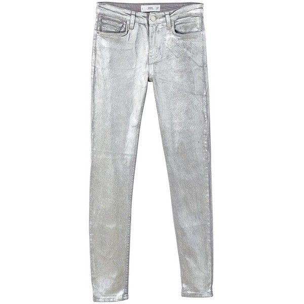 MANGO Skinny coated jeans (260 SAR) ❤ liked on Polyvore featuring jeans, silver, zip jeans, button-fly jeans, super skinny jeans, mango jeans and mid rise jeans