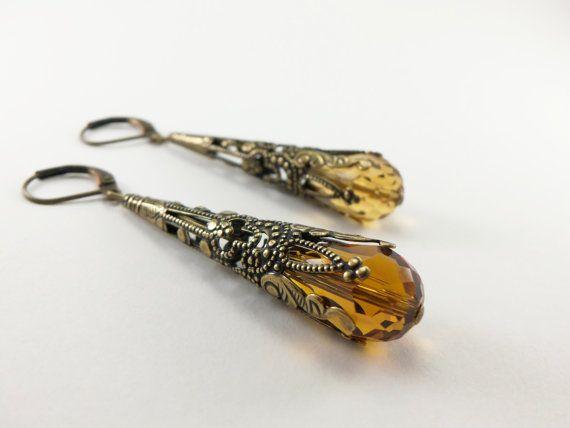 Amber Earrings Brass Filigree Leverback Teardrop by Jalycme, $18.00