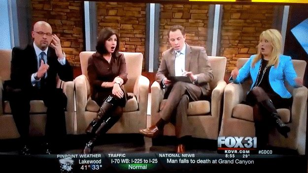 The collective reaction from the hosts says it all, really. | Denver TV Show Airs A Giant Dick Pic As Hosts Recoil In Horror [NSFW]