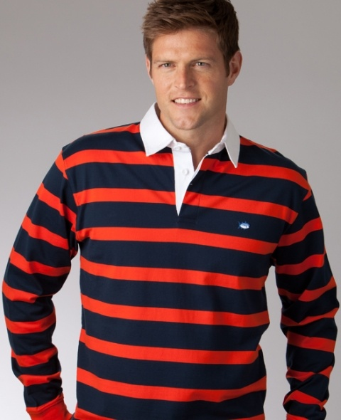 Multi-stripe long sleeve polo from Southern Tide...
