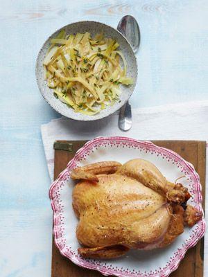 Roast Chicken with Baby Leeks - #recipe from chef Greg Higgins