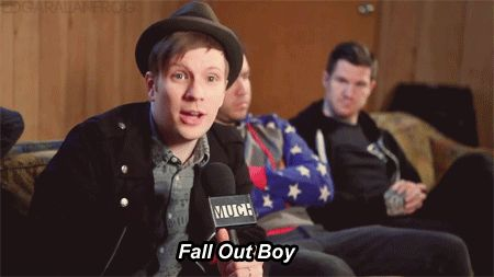 When I saw that I thought it looked like he was giving us fall out boy and I will forever thank them for the memories