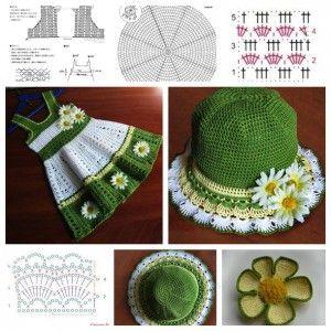 Wonderful DIY Pretty Crochet Girl's Dress & Hat Set