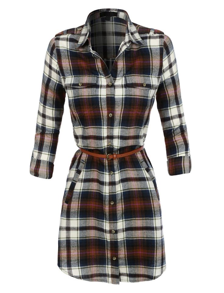 LE3NO Womens Lightweight Flannel Plaid Dress with Faux Leather Belt