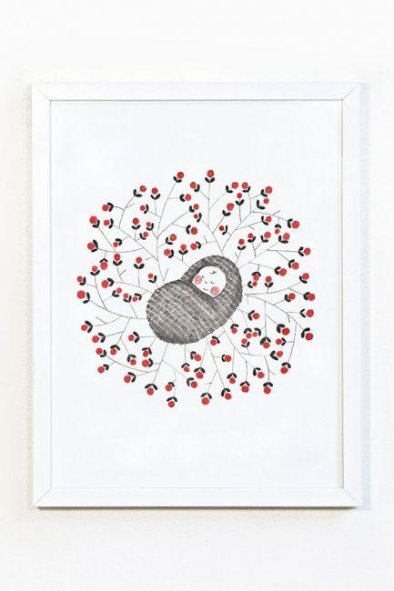 Newborn baby illustratie A4
