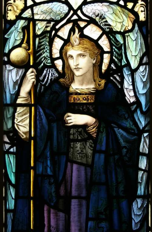 """Antique hand painted stained glass window """"St Raphael"""" by William Glasby (1863-1941)"""