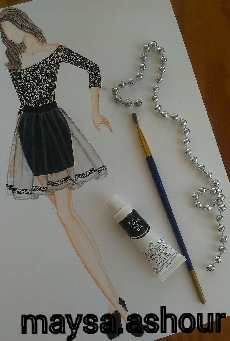 تصميم أزياء - ميساء عاشور | Drawing رسم in 2019 | Fashion ...