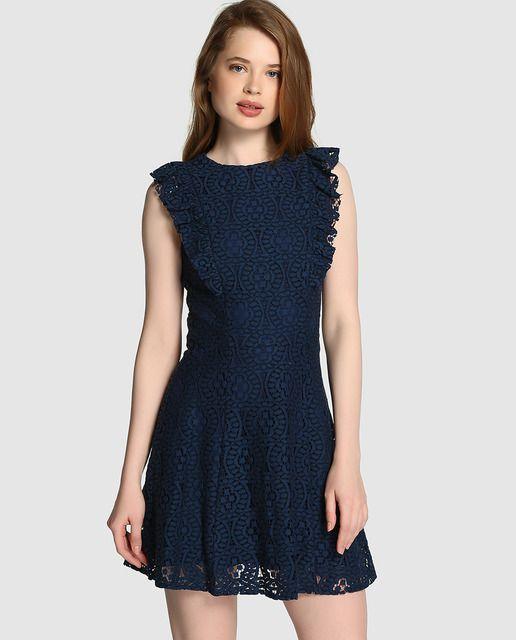 Vestido de mujer Easy Wear de encaje en color azul marino