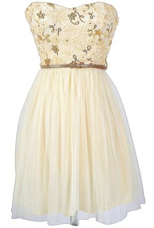 Ivory and Gold bridesmaids' dress