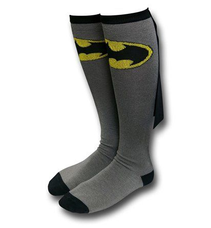 Batman Caped Jr Womens Grey Knee-Highs Socks are a pair of gray and black socks for women, each adorned with the Batman symbol and a cute little cape!