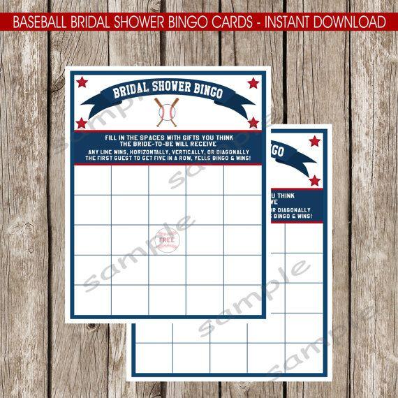 Baseball Bridal Shower Bingo Game  DIY by LittleMsShutterbug, $5.00