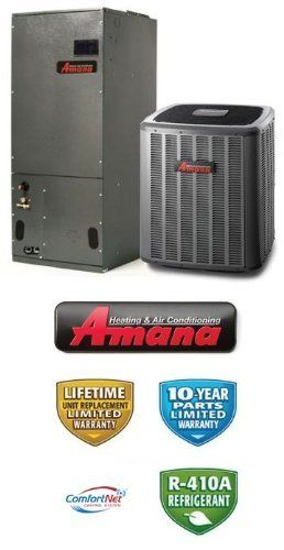 4 Ton 18 Seer Amana Air Conditioning System - ASXC180481 - AVPTC42601 by Amana. $3479.00. 2 Stage Communicating Air Conditioner with Variable Speed Communicating Blower (R-410A) - Cooling Only split air conditioning system. Includes condenser and air handler. Not a heat pump. Supplimental electric heat strips can be added to air handler to provide electric heat (sold seperately).