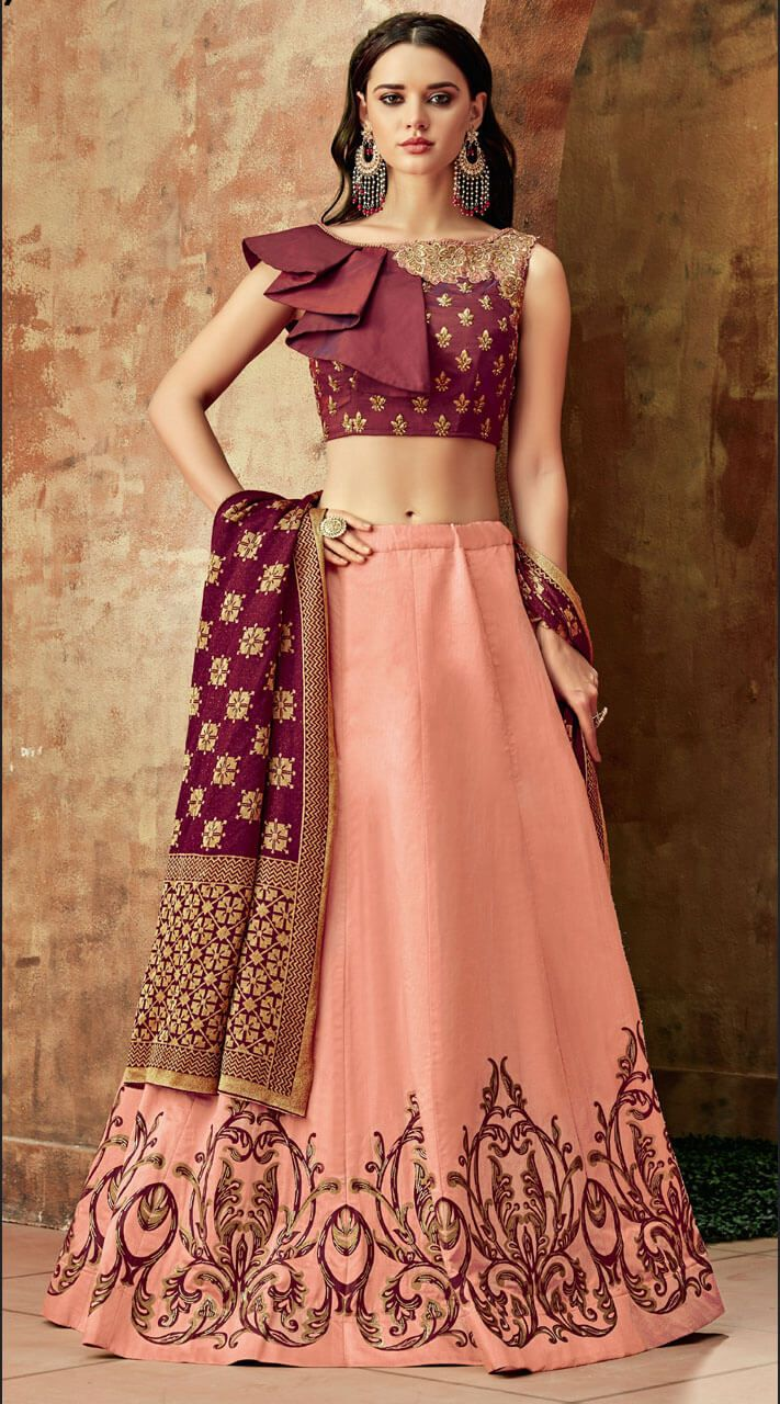 c9b360026 Peach One Sided #Cape Sleeve Choli #Lehenga for Reception is Silk #Lehenga  and Taffeta Silk Blouse with Weaved Lycra. It is Peach and #Maroon #Crop  Top ...