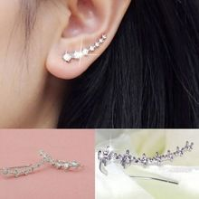 1 Pair Silver Gold Plated Stars Element Crystal Pearl Earrings Ear Hook For Women Girl Stud Earrings Jewelry 2016 Fashion(China (Mainland))