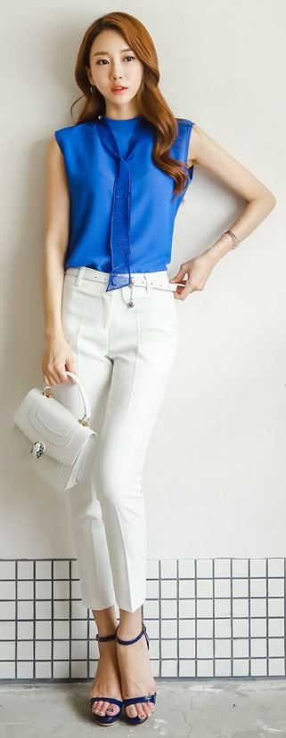 StyleOnme_Slim Fit Ankle Length Pants #white #pants #summer #trend #chic #classy #officewear #koreanfashion