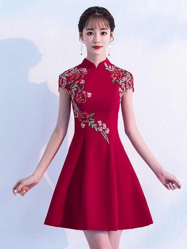 ff92bd28300 Wine Red A-Line Embroidered Qipao   Cheongsam Party Dress