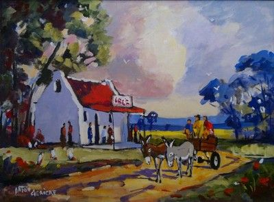 House With Donkey Cart  - Gericke Anton