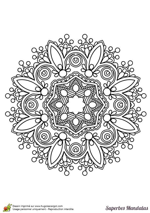 Coloriage d'un magnifique mandala dans le style indien pas très compliqué - Hugolescargot.com