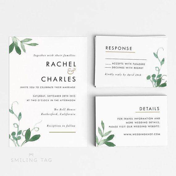 Printable Wedding Invitation Set Modern Botanical by INKKprint