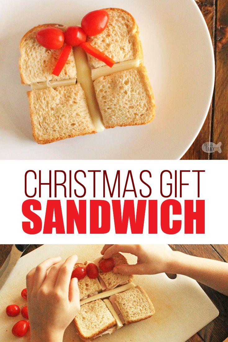 Cute Christmas Present Sandwich Idea For Kids Christmas Food In 2020 Christmas Food Christmas Lunch Healthy Christmas Snacks