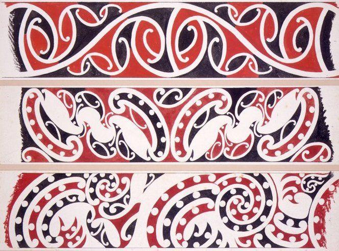 Williams, Herbert William 1860-1937 :Designs of ornamentation on Maori rafters. Nos. 1, 2, 3. [1890s]