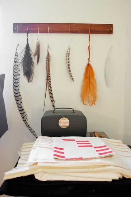 Feathers, Wood, Metal, Fabric. Via Jesse U0026 Lucas House Tour