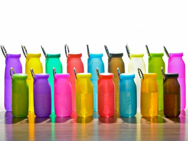 Bubi Bottle | World's only Scrunchable Water Bottle - 100% Silicon Bottle that rolls up and out of the way. This would be perfect on those long hikes with the dog. Add a splash of colour to your day!