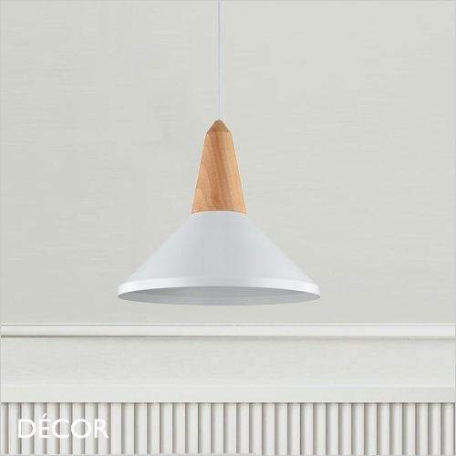 Trottola – White with Wooden Element Trendy Designer Pendant Mild – Minimalist Type in your Kitchen, Eating Room, Dwelling Room, Restaurant & Cafe