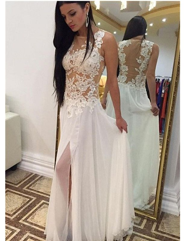 Sexy White Handmade Slit White Long Prom Dress With Lace Applique, White  Prom Dresses, Prom Gowns, Formal Dresses sold by hilldressing. Shop more  products ...