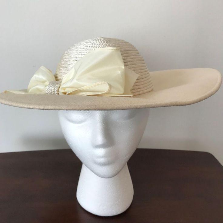 Women's Church Hat Light Tan Easter Derby Fancy Bow #Hat #Church #Easter #Derby