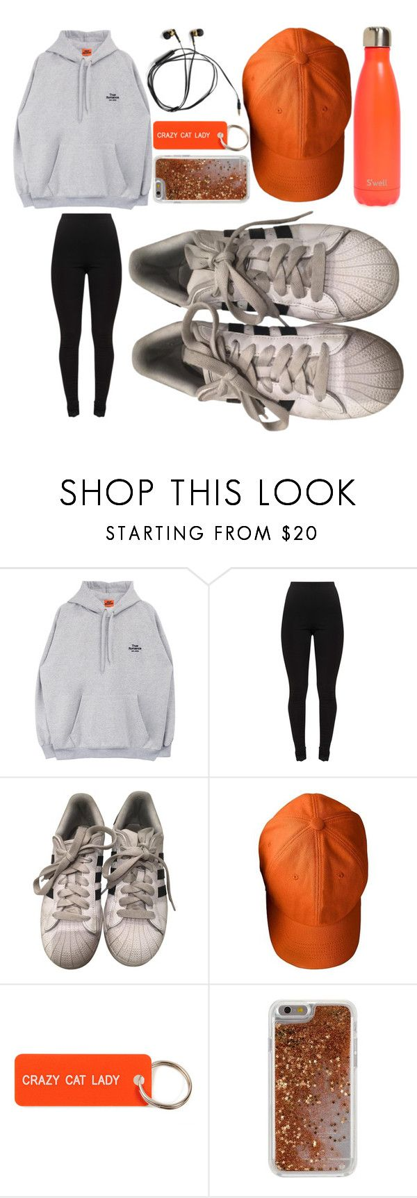 """""""Mom, I'm going jogging! (orange aesthetic sport look)"""" by mistapotta ❤ liked on Polyvore featuring adidas, Mark & Graham, Various Projects, Agent 18 and S'well"""