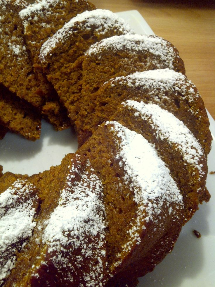 My recipe: Pumpkin Bundt, made with Cloud 9 Gluten Free flour. This cake is so rich and moist, it's incredible. It's nothing like any gf baked goods you typically buy! DEELISH :D