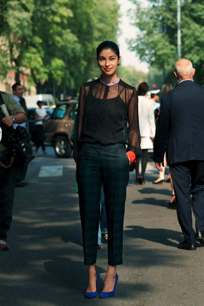 caroline issa (sheer top + blue shoes...blue shoes are officially on my list)